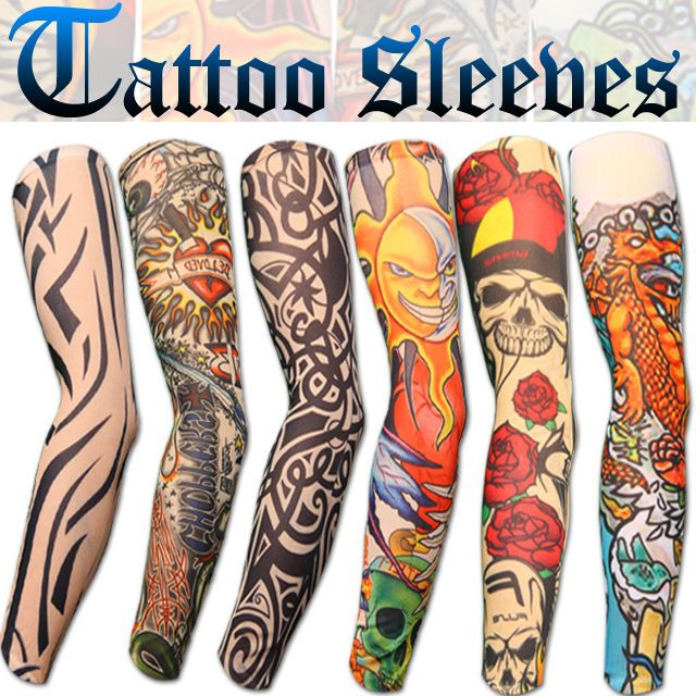 New stretch nylon fake tattoo sleeves arms fancy dress uk for How to make a fake tattoo look real