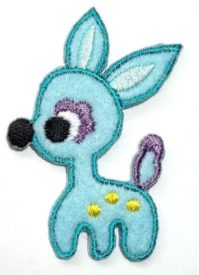 Baby Deer Soft Turquoise Blue Felt//Embroidered Iron On Applique Patch Deer