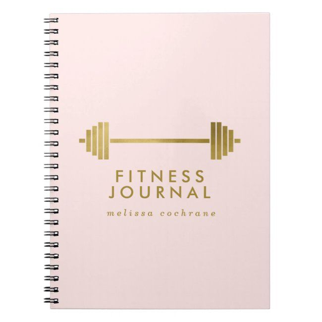 Blush & Gold Personalized Fitness Journal #fitness #journal #exercise #journal #weights Affiliate