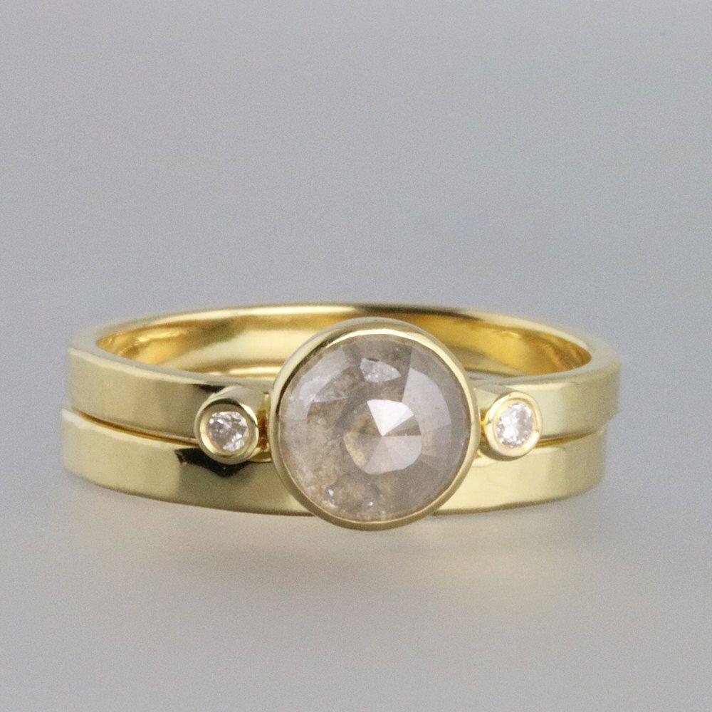 18k Gold Wedding Ring Set Grey Diamond Engagement Rose Cut