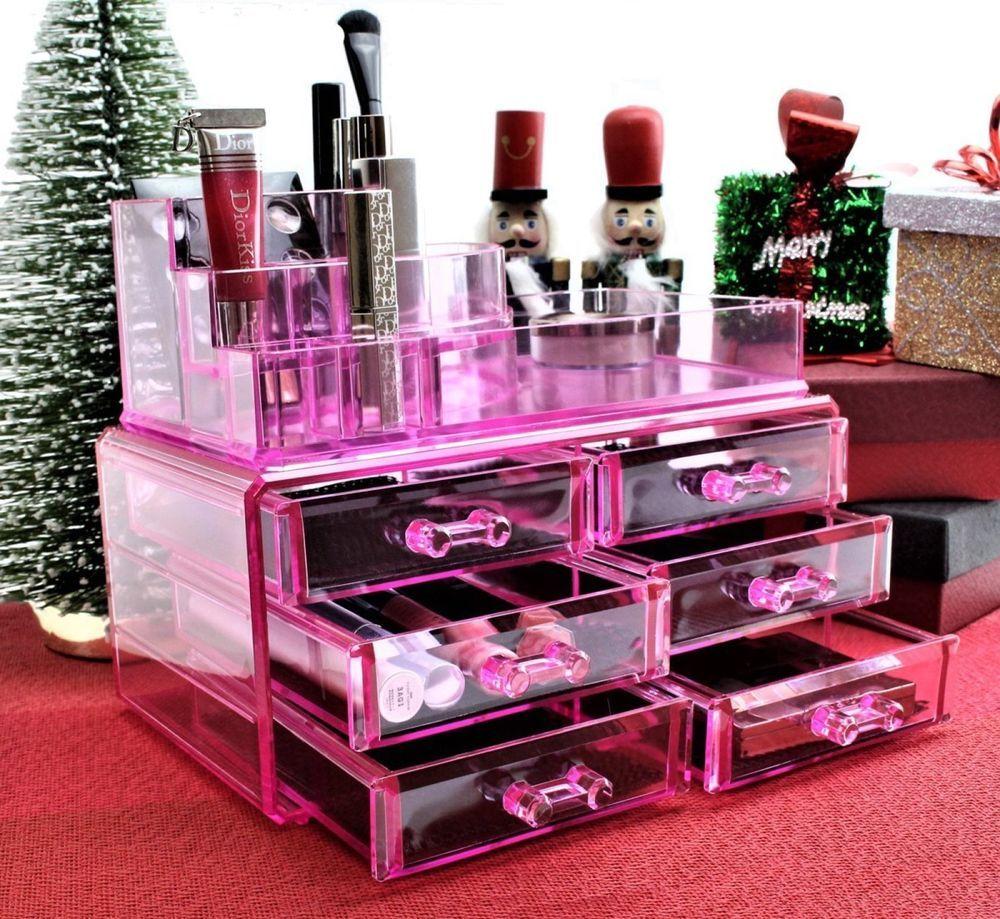 Cosmetics Organizer Makeup Jewelry Storage Box Drawer Case Clear