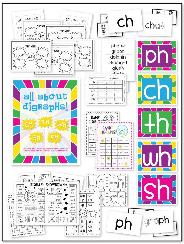 Consonant Digraph Packet (SH, CH, PH, TH, | Projects to Try | Pinterest
