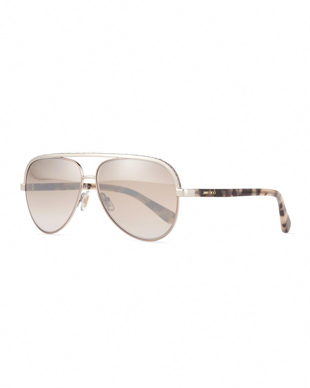 8558ada1130 Lina Rhinestone Aviator Sunglasses