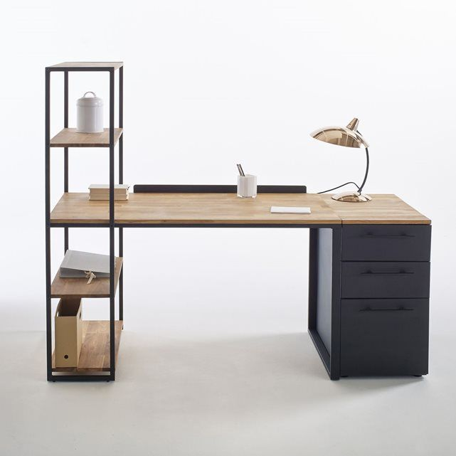 bureau biblioth que m tal et ch ne massif hiba. Black Bedroom Furniture Sets. Home Design Ideas