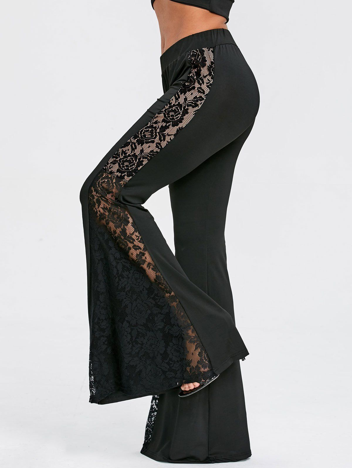 See Through Lace Panel High Waisted Flare Pants – Black – S