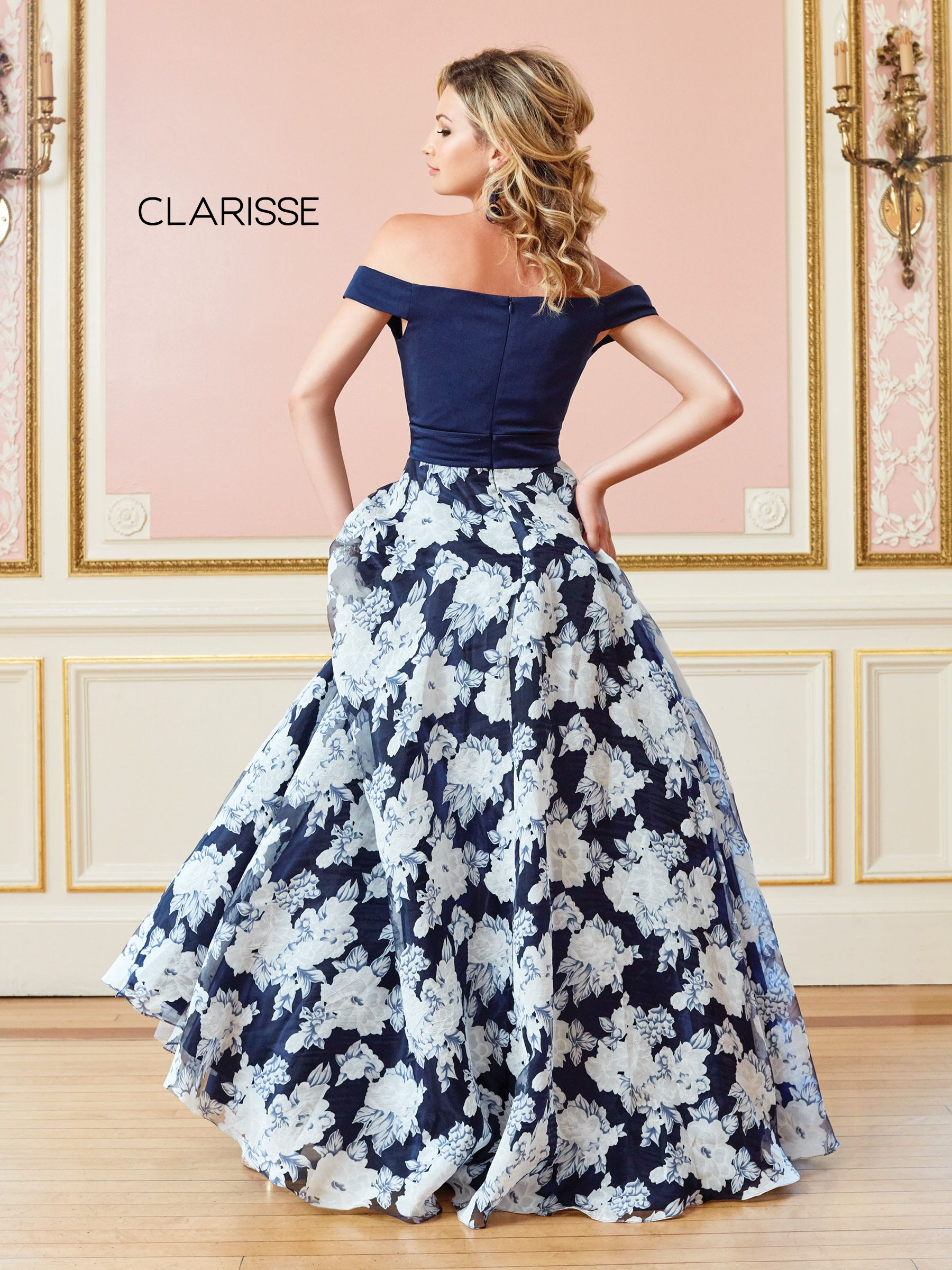 c94f28a1c04 4966 - Navy floral print off the shoulder ball gown
