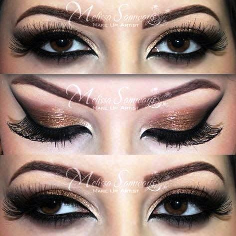 Glamorous & Sexy Bronze Smokey Eye For Brown Eyes | AmazingMakeups ...