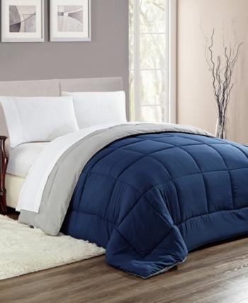Down Alternative Bed Blanket Navy Blue Full Queen