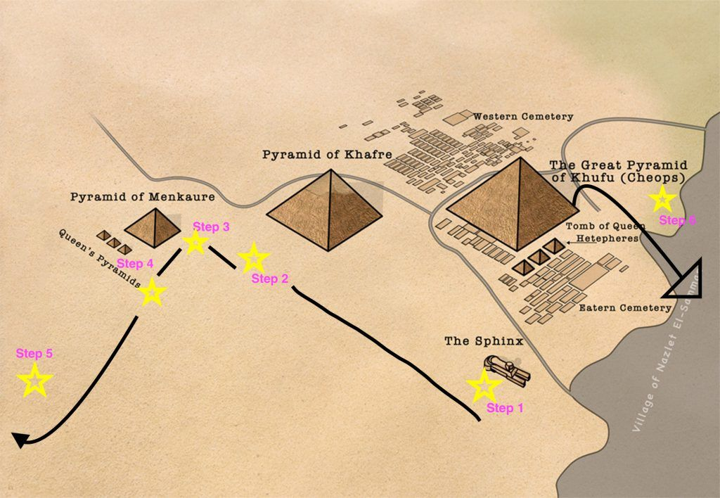 Map of where to get the best photos at the Pyramids of Giza ... Cairo Pyramids Map on pyramid mexico city map, pyramid egypt map, pyramid giza map,
