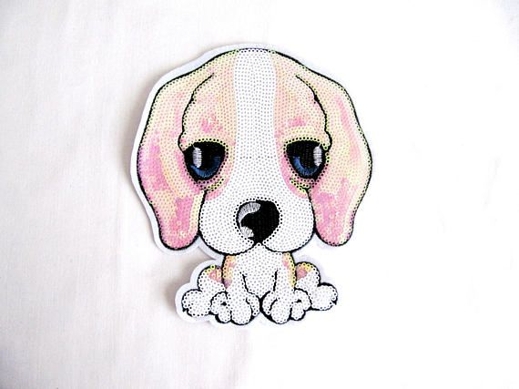 Pink Puppy Patch,Sad Dog Patch,Pink White Dog Applique,Sequin Dog