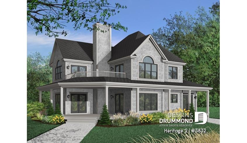 Decouvrez Le Plan 3832 Heritage 2 Qui Vous Plaira Pour Ses 4 Chambres Et Son Style Champetre Farmhouse Style House House Plans Luxury House Plans