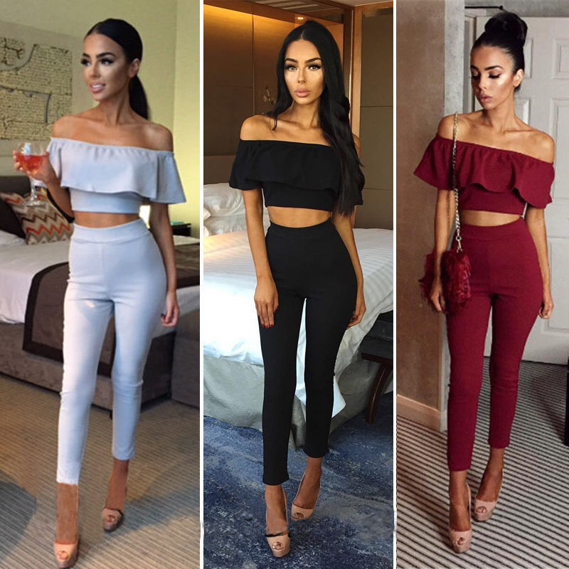 2e251ac6cd093 Womens Ruffles Off Shoulder Top 2 Pieces Suit High Waist Trousers Set  Bodycon