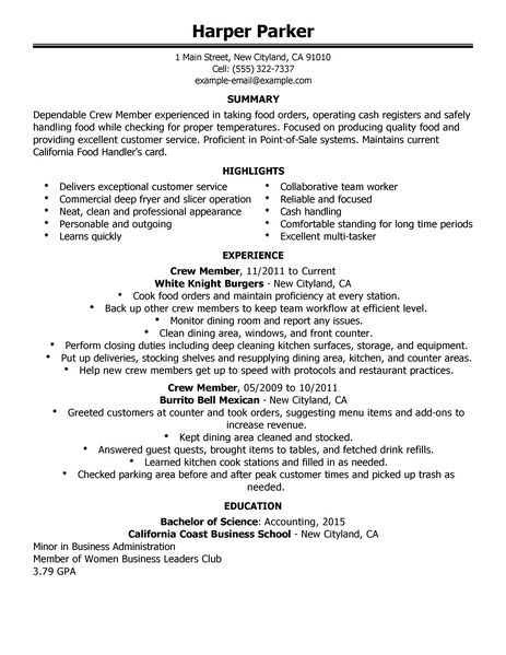 fast food restaurant manager resume big crew member example worker - resume examples for fast food