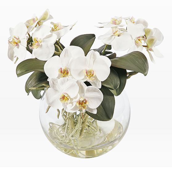 Faux Orchid In Vase White Orchid Vase Orchid Arrangements Artificial Floral Arrangements