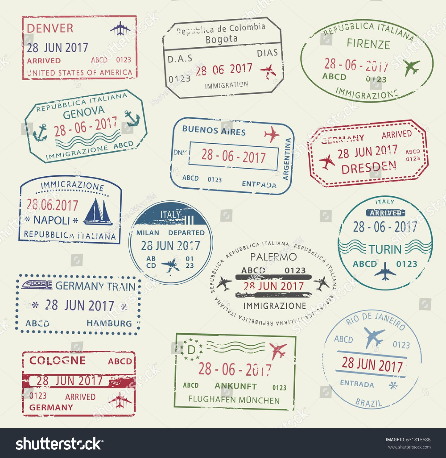 Visa Passport Stamp Symbol Set International Travel Of Italy Germany USA Brazil And Colombia Tourism Application Arrival Document