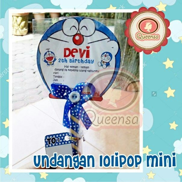 Undangan Lolipop Mini Tema Doraemon Undangan Ultah Anak