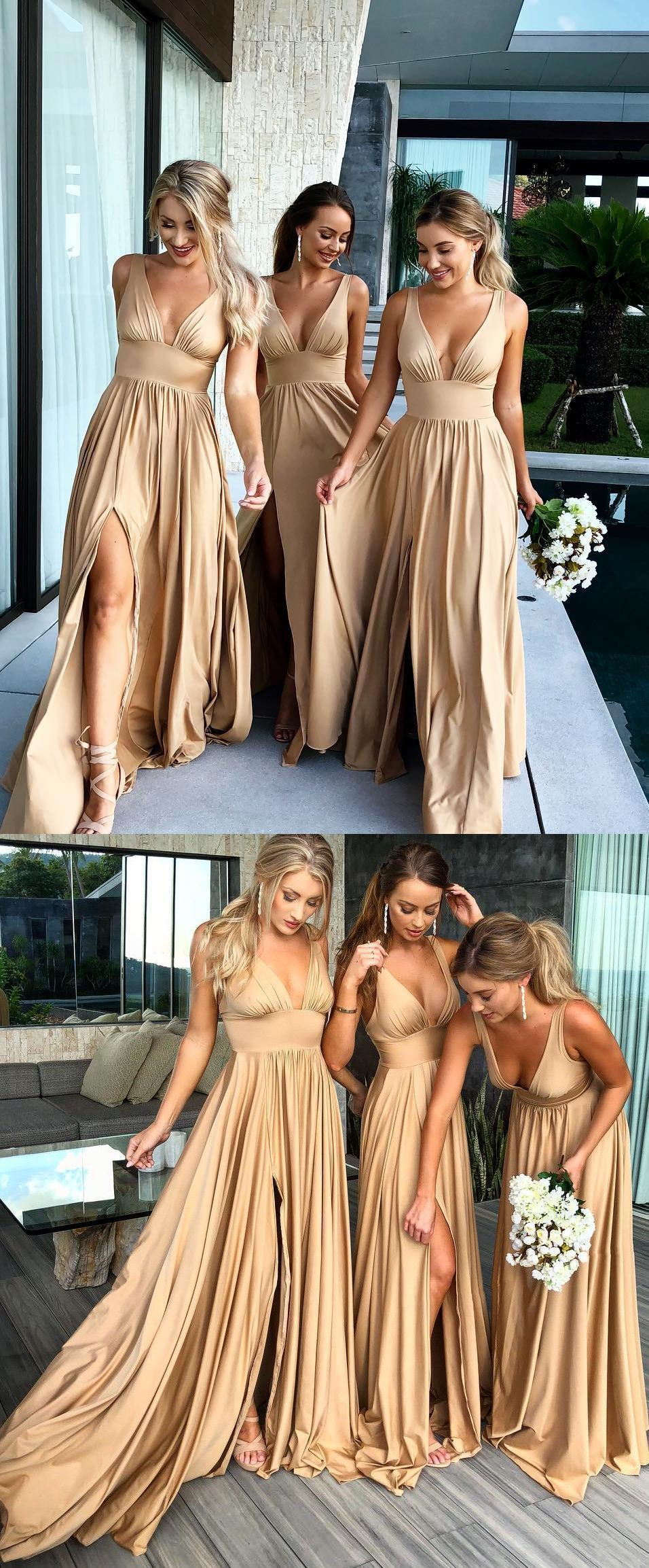 I love these candi gold long bridesmaid dress with side slit