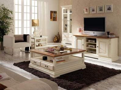 Salon clasico mueble de television mesa de centro tapa - Decorar salon clasico ...
