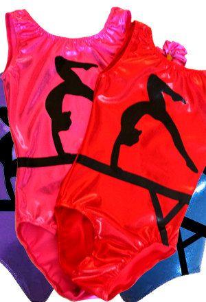 849a10586163 Gymnastics Leotard Girls Bodysuit Dance Leotard - Beam Silhouette on ...