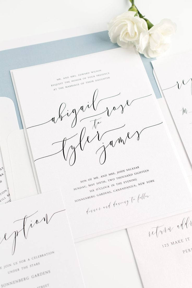 Dusty Blue Wedding Invitations with Modern Calligraphy