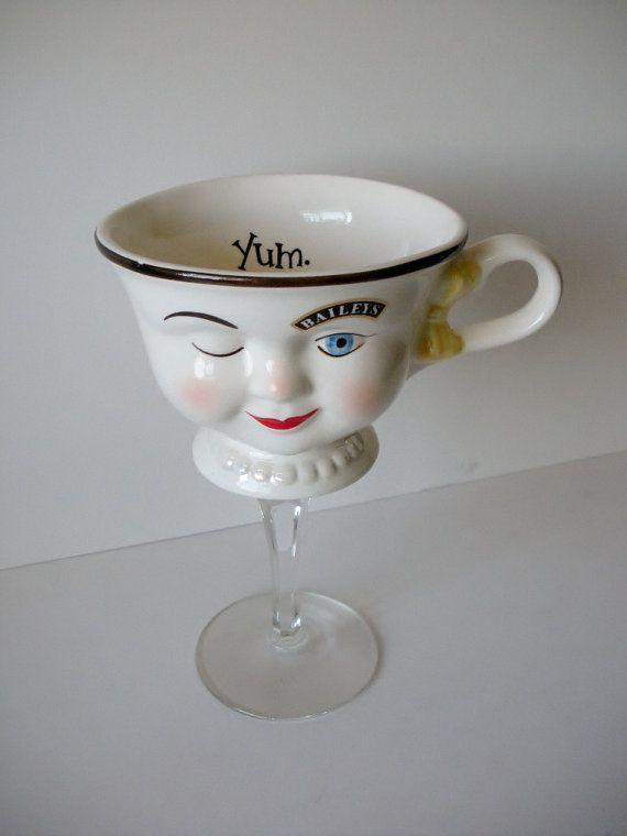 Vintage tea cup wine glass fun wine glass  teacup wine by NEWaged, $24.00
