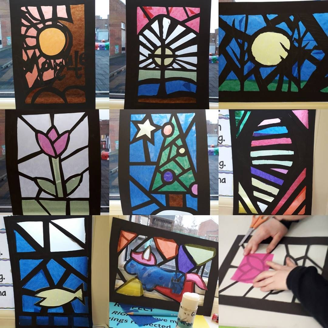 Stained Glass Window Black Card And Cellophane Or Tissue