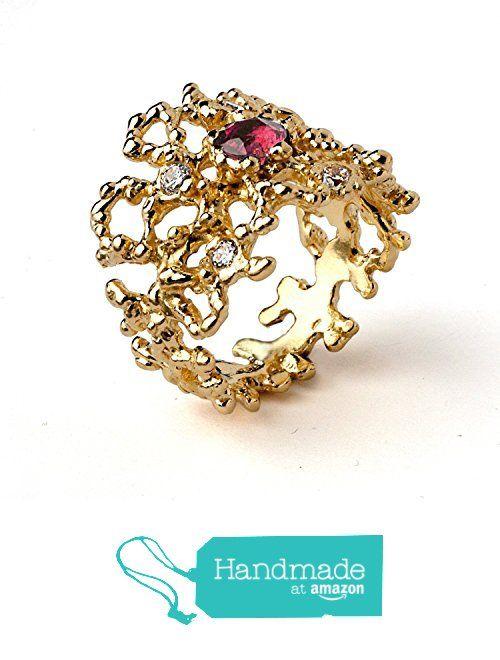 18k Yellow Gold Plated Sterling Silver, Natural Pink Tourmaline White Cubic Zirconia Gemstone, Coral Organic Statement Ring, Size 4 to 13 from Arosha https://www.amazon.com/dp/B01FRCSS7W/ref=hnd_sw_r_pi_awdo_CGDEyb02BKYJ5 #handmadeatamazon
