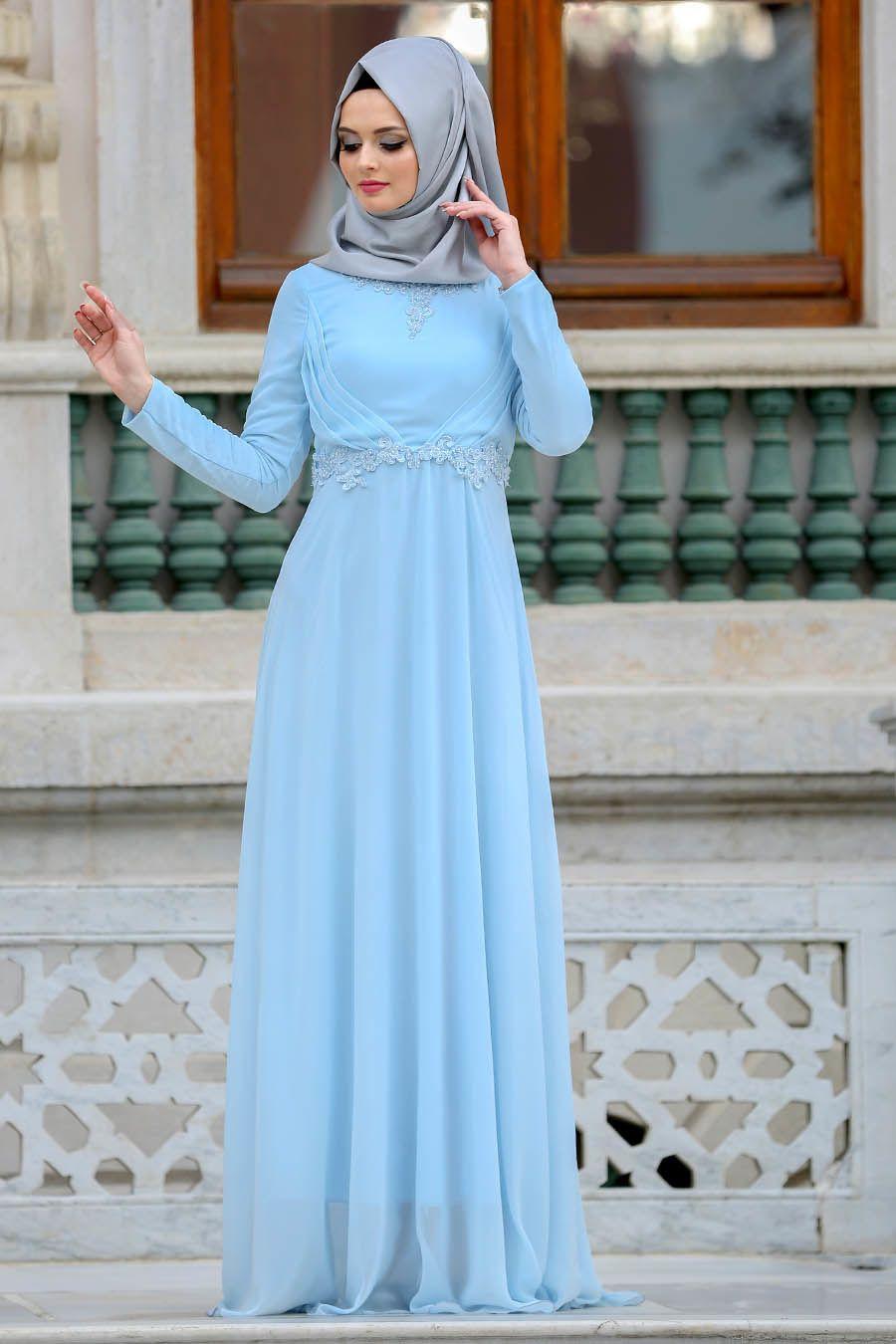 Neva Style Nervur Detayli Bebek Mavisi Tesettur Abiye Elbise 3607bm Tesetturisland Com Elbise Kadin Kiyafetleri Basortusu Modasi