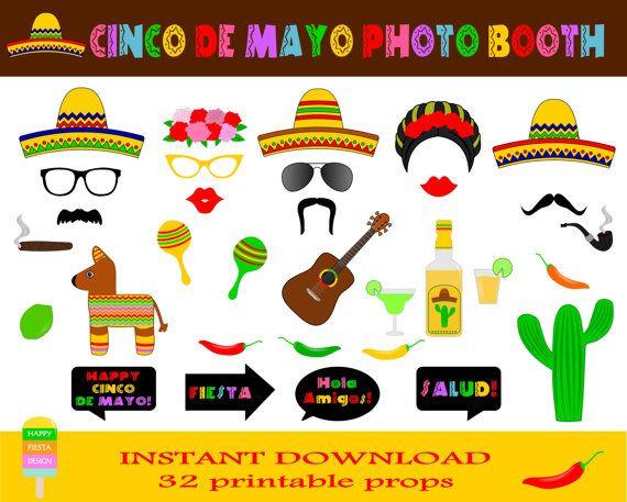 Printable Cinco De Mayo Photo Booth Propsmexican Fiesta Props