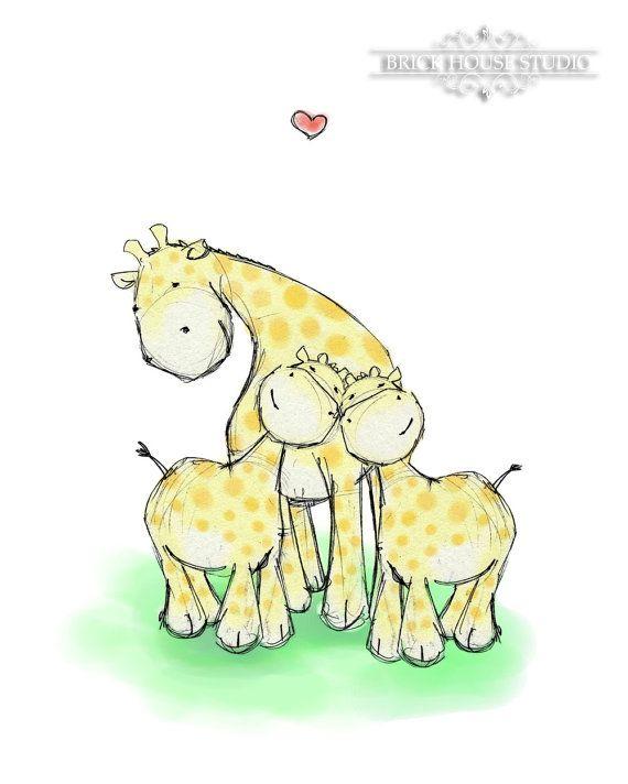 Nursery Wall Art Giraffe Love Twins  5x7 Print by BrickHouseStudio, $9.00