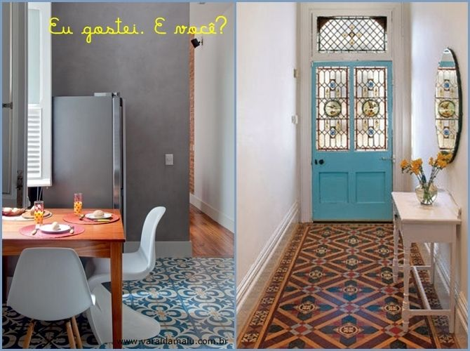 Varal da Malu: Patchwork de azulejo no piso