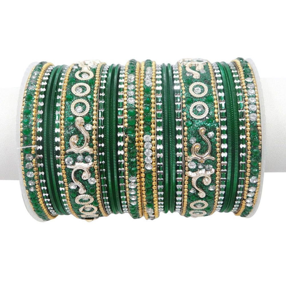 Gold tone green cz bangle set women wear traditional braceletkada