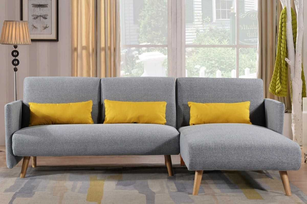 Los Angeles Light Grey Fabric Corner Sofa Bed Chaise