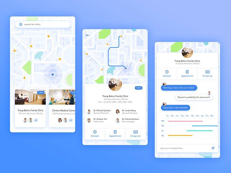 Find Doctor Mobile App   ui   App ui design, App map, Mobile ui design