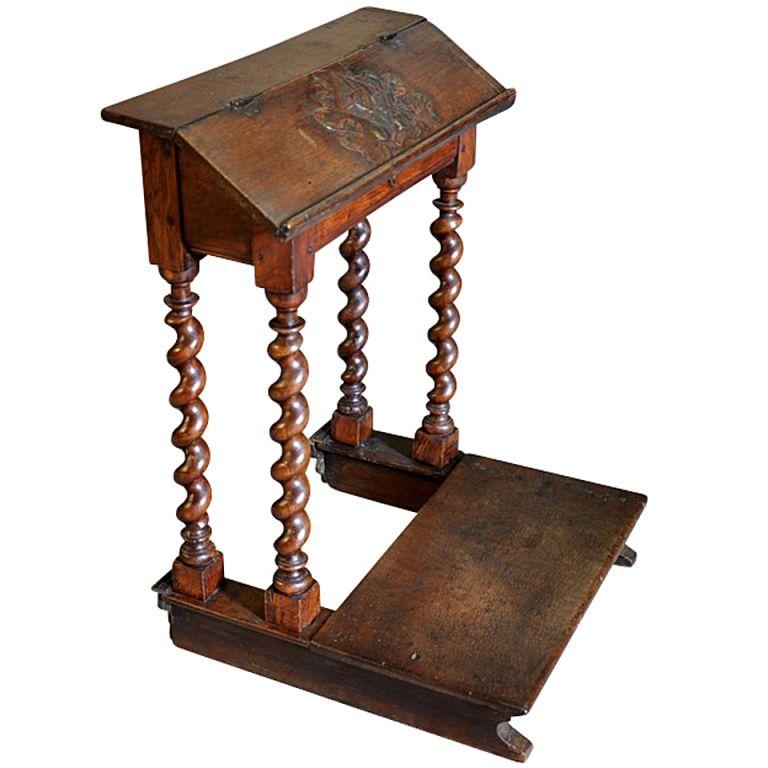 French louis xiii style priedieu prayer desk in oak
