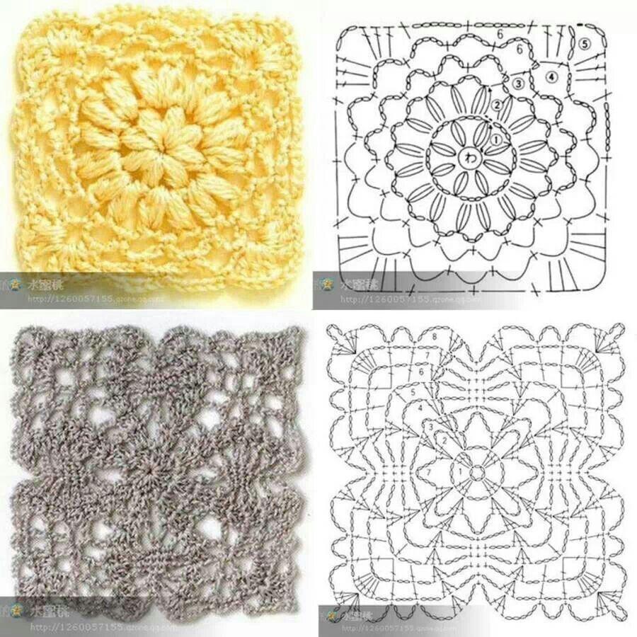 Squares | crochet | Pinterest | Cuadrado blanco, Muestras de tejido ...