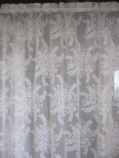 Vintage Lace Curtain Off White Floral Bouquet Panel 60 X 78 On Etsy 2250