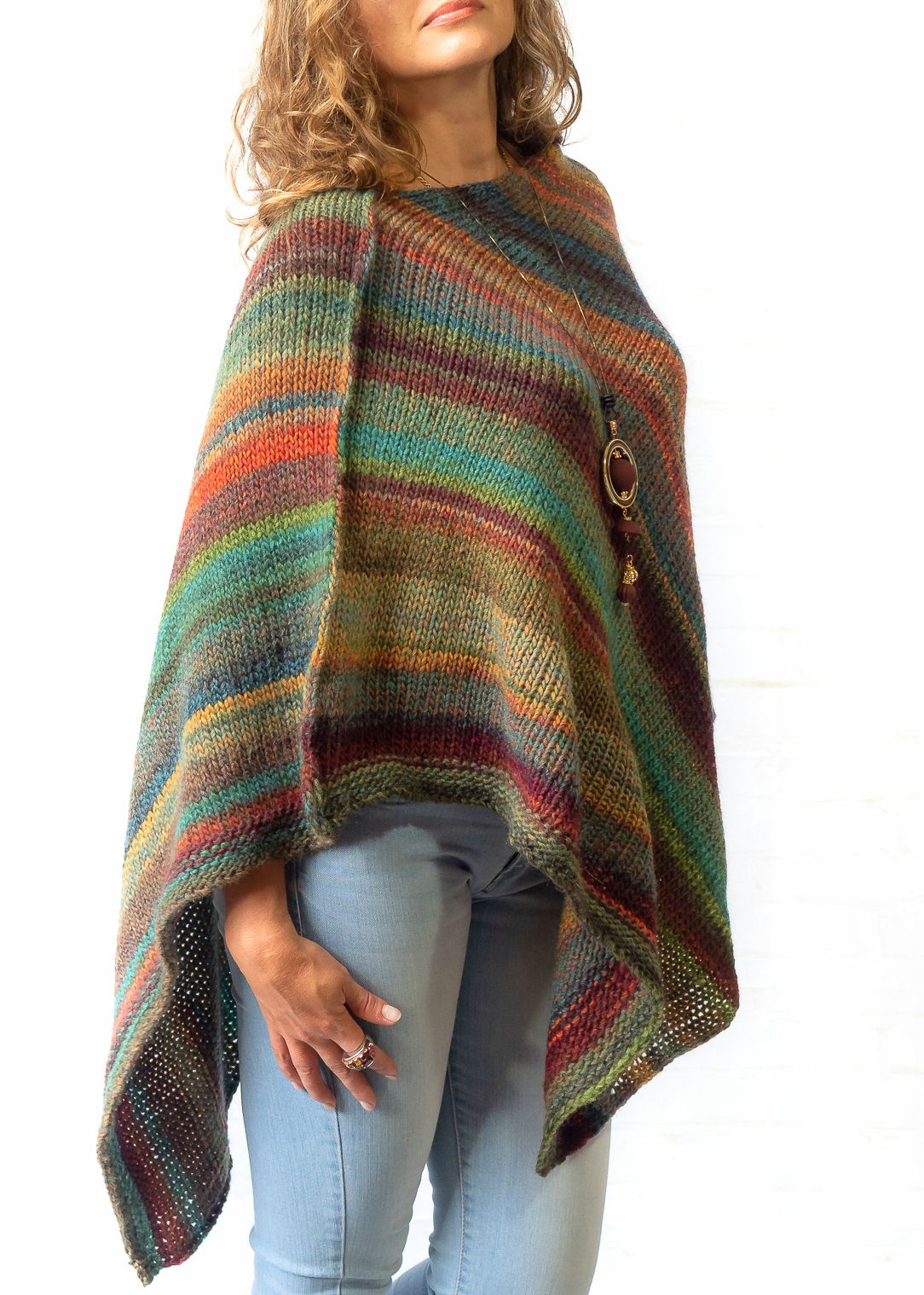 Knit Ponchos | Handmade poncho sweater for women, Wool