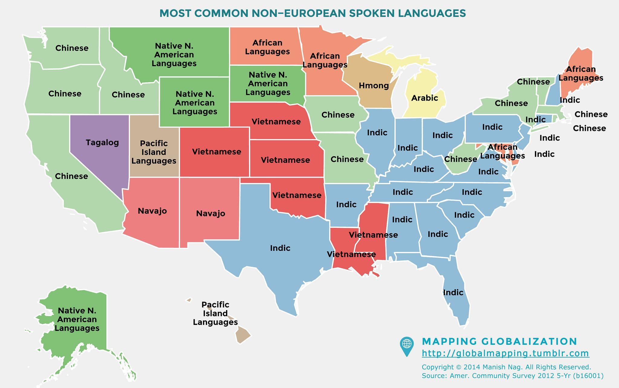 Most Common Non-European Languages spoken in the United States [2048 on