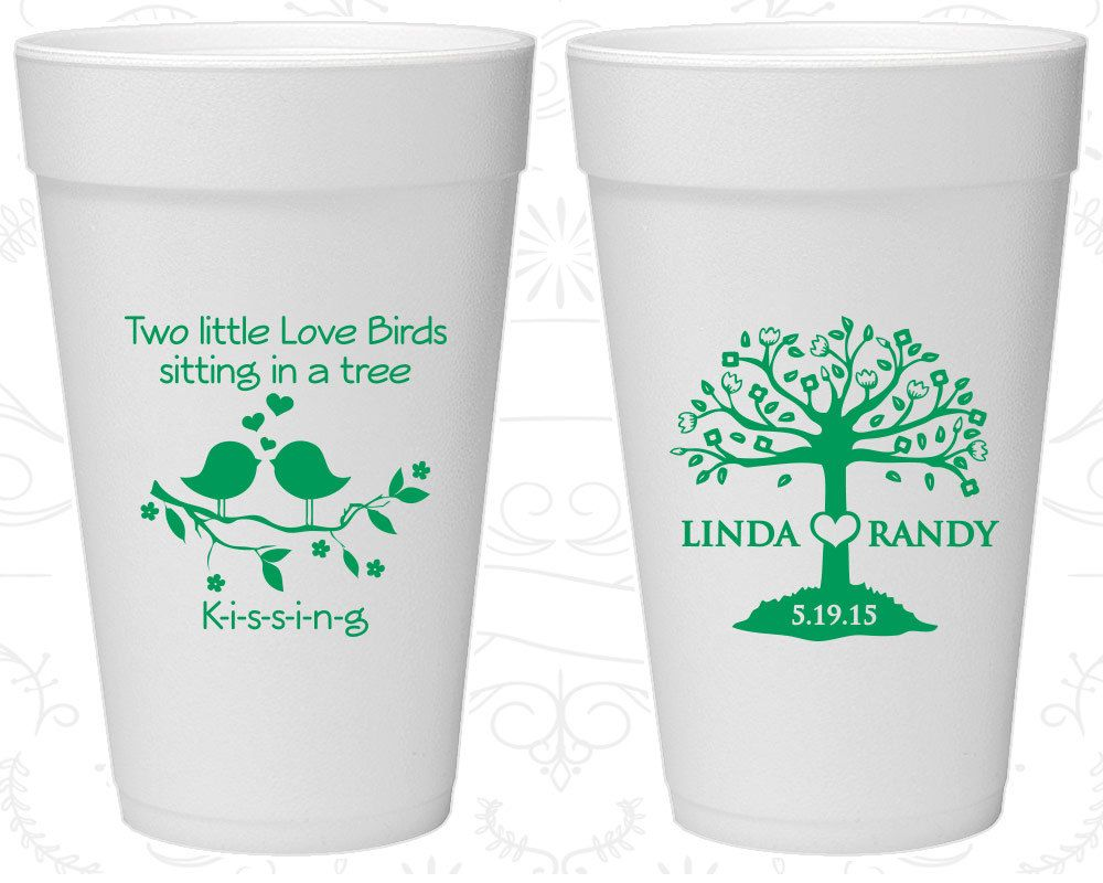 Two little love birds sitting in a tree Kissing, Wedding Favor ...