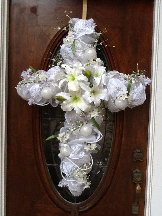 White Cross Wreath Easter Cross Wreath Easter Wreaths