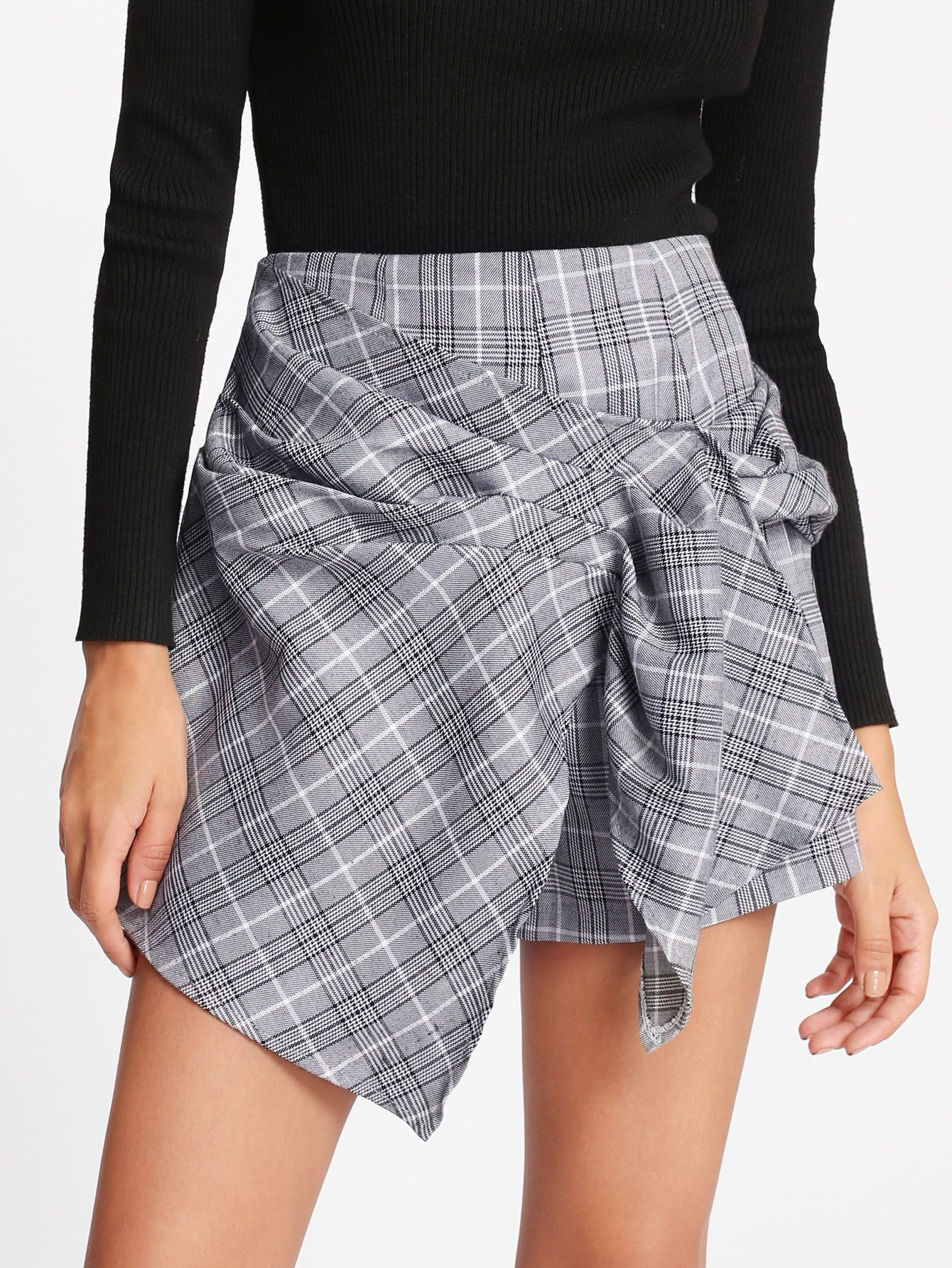 7d6e73e1b4 Shop Ruched Overlap Front Plaid Shorts online. SheIn offers Ruched Overlap  Front Plaid Shorts & more to fit your fashionable needs.