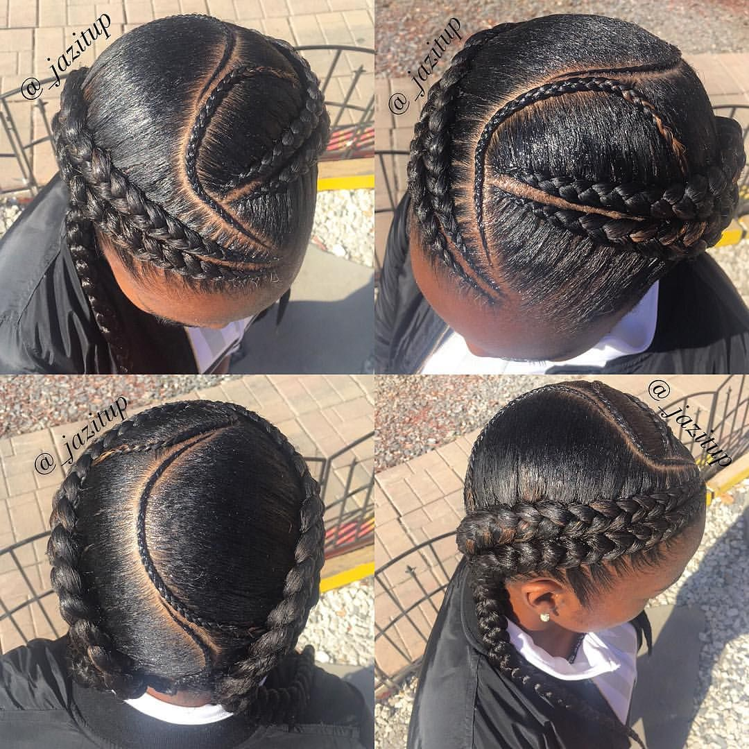 Zoom In 4 Feedinbraids Into 2 Jazituphair Jazitupbraids Cutcreatersalonsuites Hair Styles Two Braid Hairstyles Braided Hairstyles