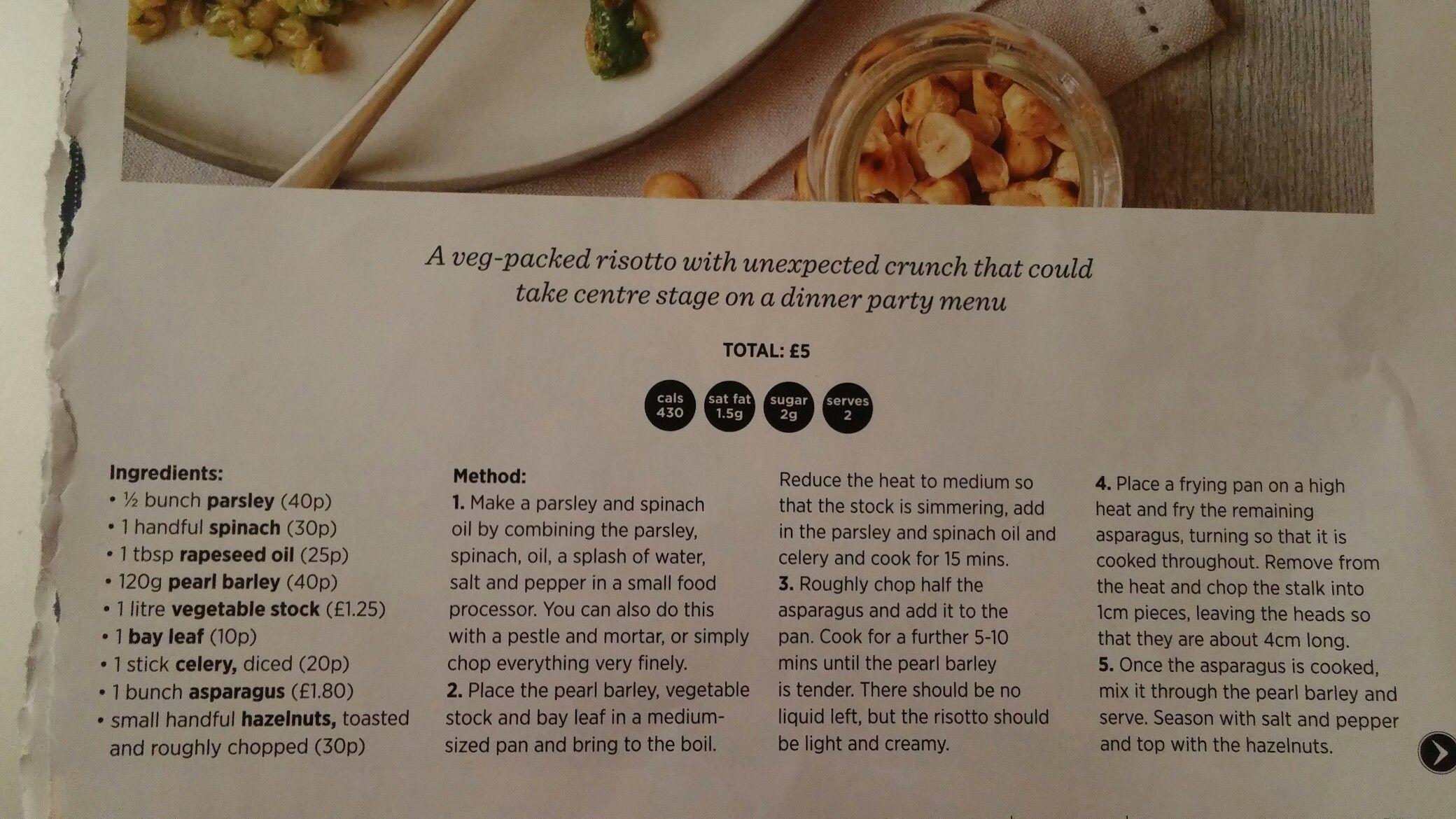 Asparagus and pearl batley risotto