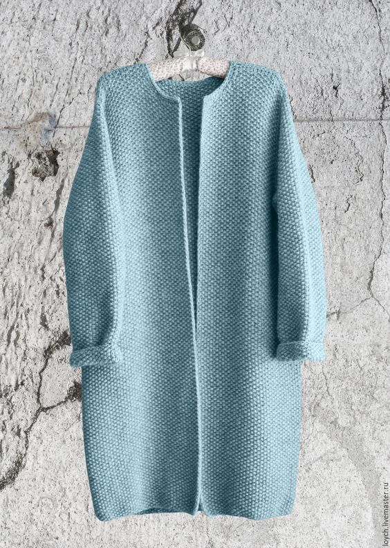 Купить Пальто Оверсайз Вязаное Норка (Голубой цвет) - голубой, однотонный, пальто оверсайз: