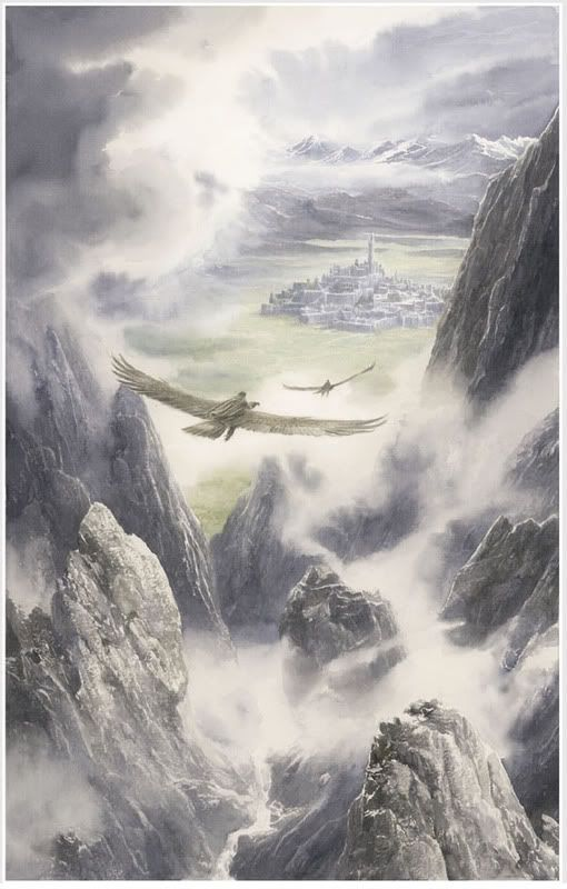 Hurin and Huor are carried to Gondolin - Alan Lee