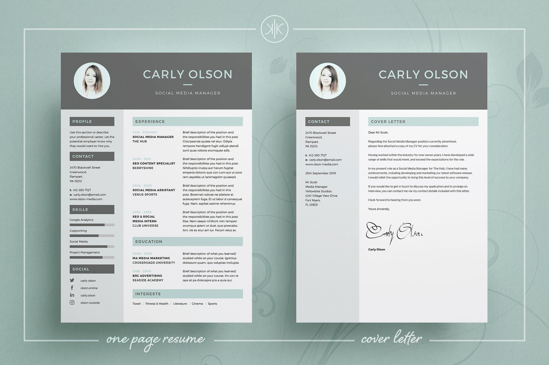 Carly Resume/CV Template | Word | Photoshop | InDesign ...