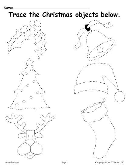 free printable christmas tracing worksheet worksheets activities lesson plans for kids. Black Bedroom Furniture Sets. Home Design Ideas