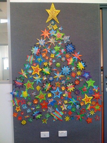 tree made of stars - cute as a class project for the holidays bulletin-board -ideas - Tree Made Of Stars - Cute As A Class Project For The Holidays