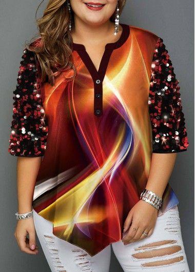 Plus Size Split Neck Sequin Embellished T Shirt